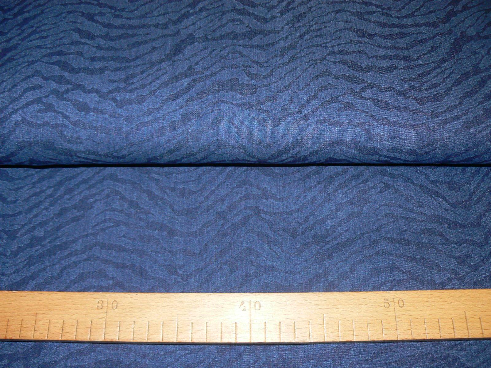 4193c1d00bd9 Riflovina elastická - Tm. modrý tygrový vzor